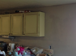 Gray wall and counters buried.